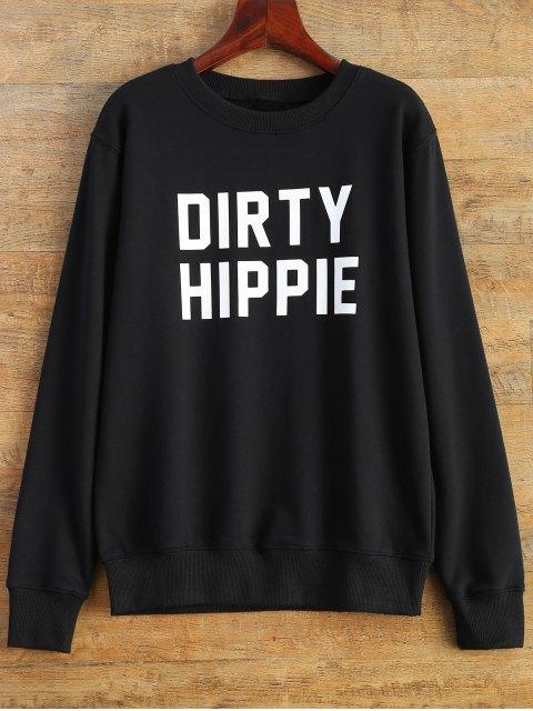 shops Letter Dirty Hippie Print Sweatshirt - BLACK L Mobile