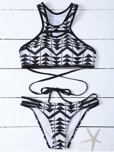 Bikini découpé à col haut imprimé de motif aztèque - Blanc et Noir L Mobile