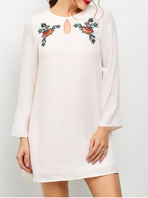 buy Long Sleeve Chiffon Tunic Dress - LIGHT PINK M Mobile