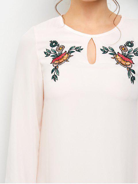 buy Long Sleeve Chiffon Tunic Dress - LIGHT PINK M Mobile