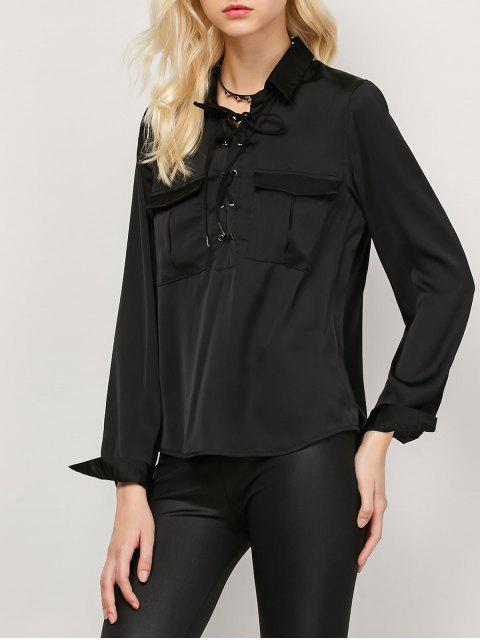 sale OL Lace-Up Shirt - BLACK S Mobile
