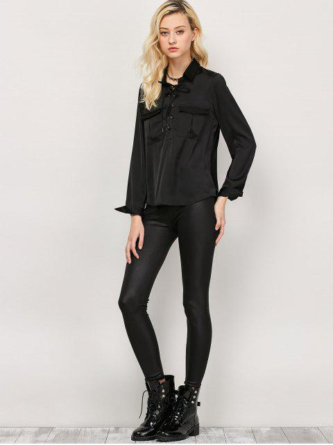 fancy OL Lace-Up Shirt - BLACK L Mobile