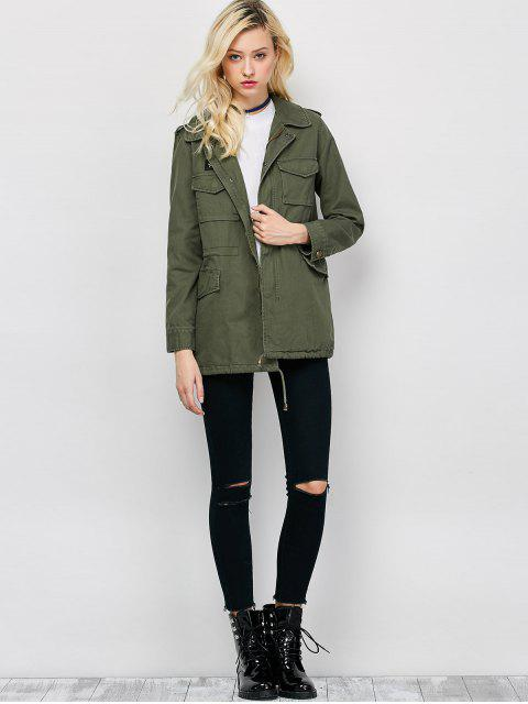 trendy Star Patched Utility Jacket - ARMY GREEN M Mobile