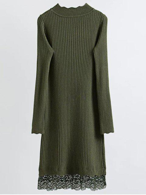 fancy Lace Trim Ribbed Jumper Dress - ARMY GREEN ONE SIZE Mobile