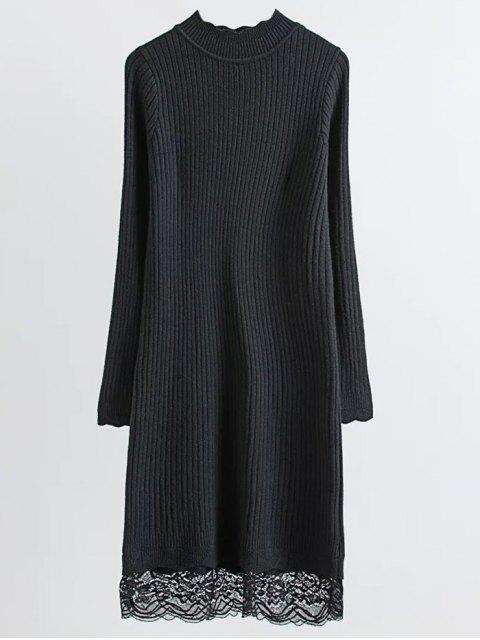 chic Lace Trim Ribbed Jumper Dress - BLACK ONE SIZE Mobile