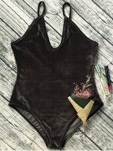 shop Plunging Neck Slip Velvet Bodysuit - ARMY GREEN L Mobile