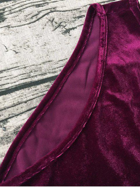 Nuisette Sexy velours à col plongeant - Rouge vineux  S Mobile