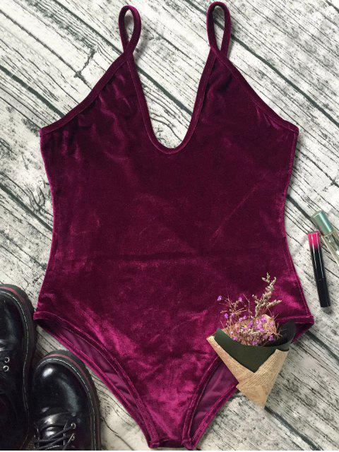 affordable Plunging Neck Slip Velvet Bodysuit - WINE RED M Mobile