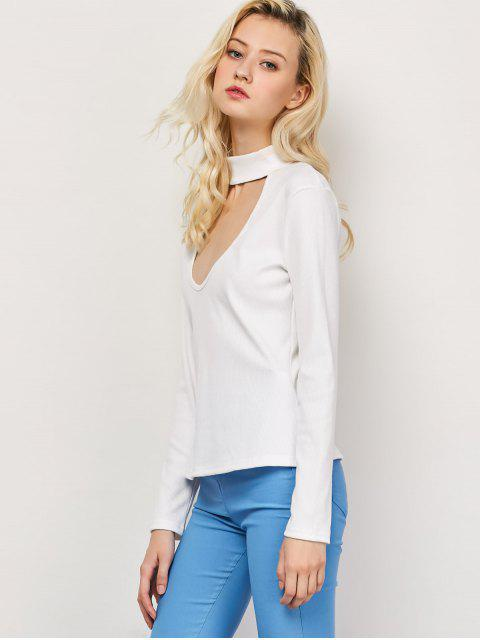 T-shirt à col haut coupé et collant - Blanc S Mobile