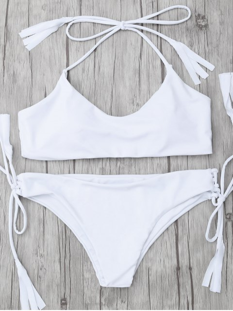 affordable Tasselled Halter Bikini Set - WHITE S Mobile