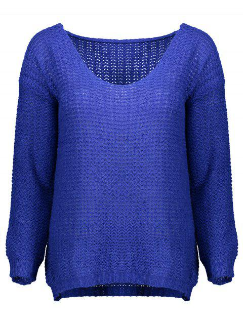 affordable Open Stitch Scoop Neck Sweater - BLUE S Mobile