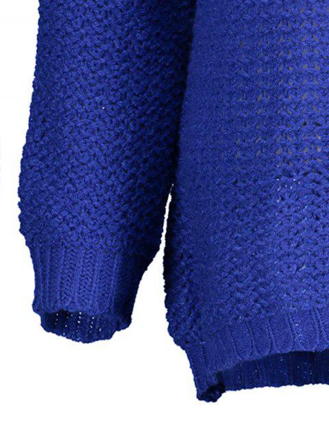 sale Open Stitch Scoop Neck Sweater - BLUE M Mobile