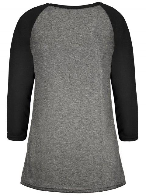 trendy Game Day Baseball Tee - BLACK AND GREY L Mobile