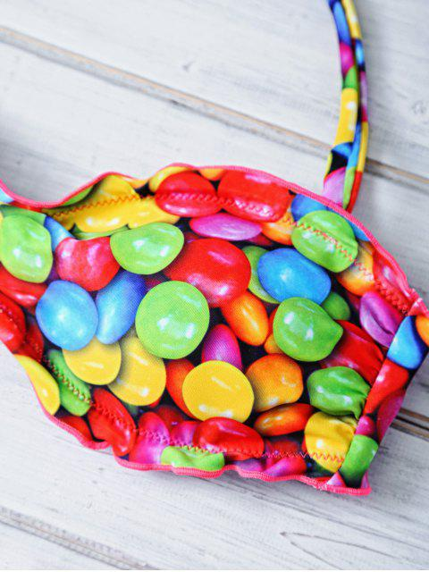 online Halter Candy Print Frilled Bikini - COLORFUL XL Mobile
