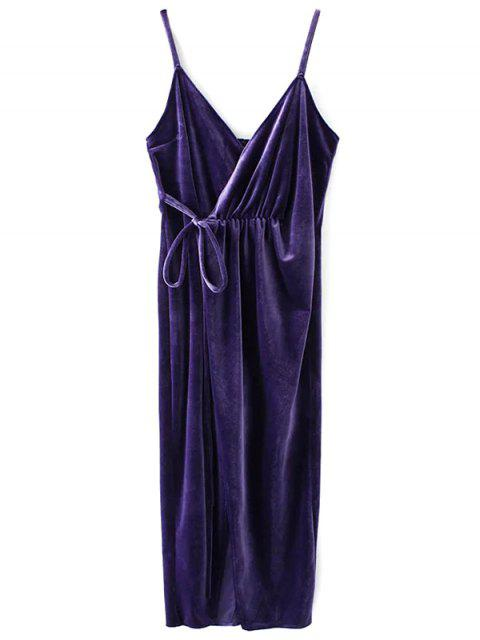 outfits Slip Velvet Wrap Midi Dress - DEEP PURPLE L Mobile