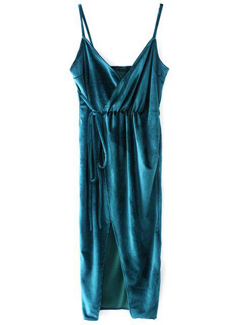 latest Slip Velvet Wrap Midi Dress - LAKE BLUE L Mobile