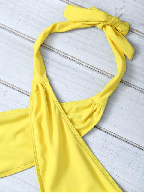 hot Halter Criss Cross One Piece Swimwear - YELLOW L Mobile