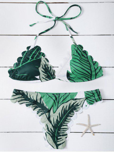 new Halter Scalloped Printed Bikini - GREEN S Mobile