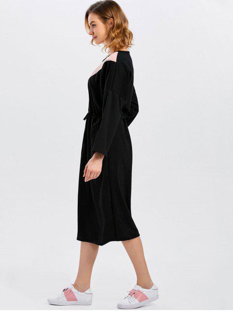 unique Drawstring Color Block Pockets Dress - BLACK ONE SIZE Mobile