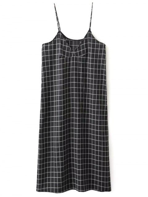 affordable Shift V Neck Slip Plaid Dress - BLACK M Mobile