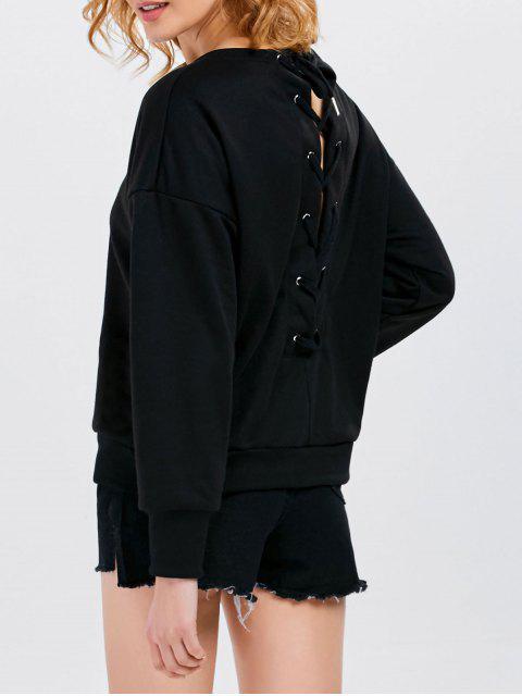 outfits Jewel  Neck Lace Up Sweatshirt - BLACK 2XL Mobile