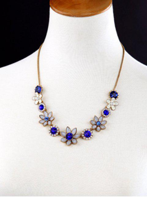 best Faux Sapphire Glaze Flower Necklace -   Mobile