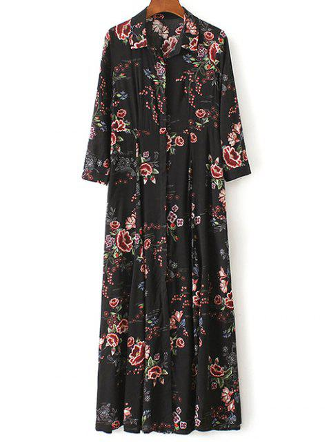 women's Maxi Floral Print Shirt Dress - BLACK M Mobile