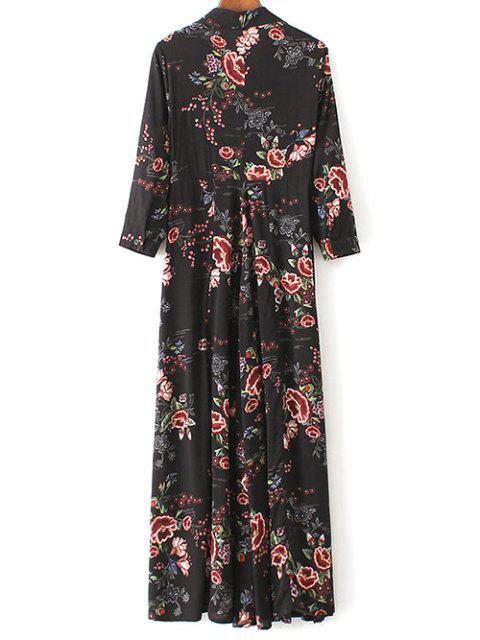 women Maxi Floral Print Shirt Dress - BLACK L Mobile