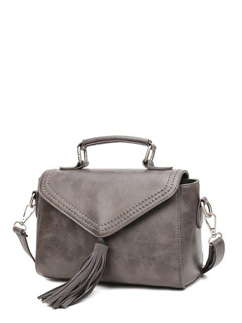 chic Tassel Faux Leather Handbag - GRAY  Mobile