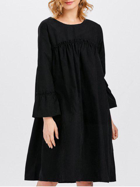 sale Long Sleeve Trapeze Dress - BLACK ONE SIZE Mobile