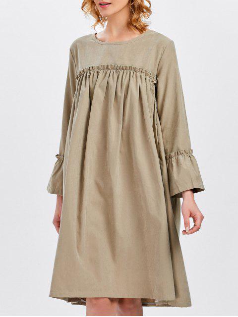 affordable Long Sleeve Trapeze Dress - KHAKI ONE SIZE Mobile