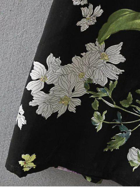 affordable High Waist Floral Print Button Up Dress - BLACK L Mobile