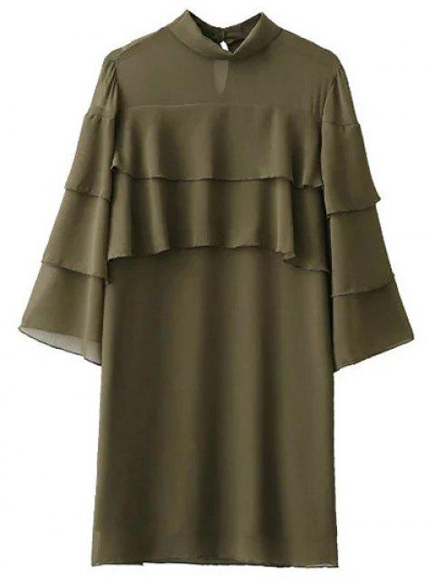 outfit Bell Sleeve Ruffle Chiffon Mini Dress - ARMY GREEN L Mobile