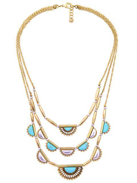 online Geometric Artificial Turquoise Layered Necklace - GOLDEN  Mobile