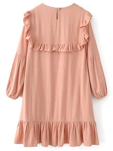 online Ruffle Puff Long Sleeve A Line Dress - PINKBEIGE L Mobile