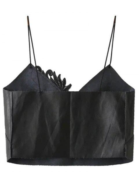 ladies Faux Leather Spaghetti Strap Cropped Top - BLACK L Mobile