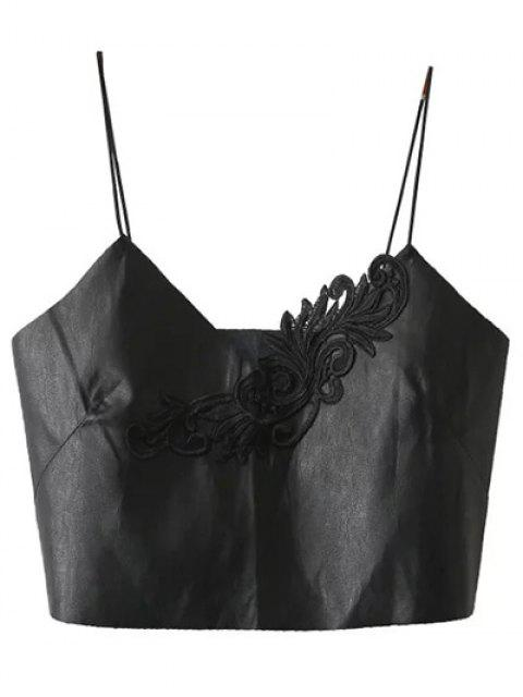 best Faux Leather Spaghetti Strap Cropped Top - BLACK S Mobile
