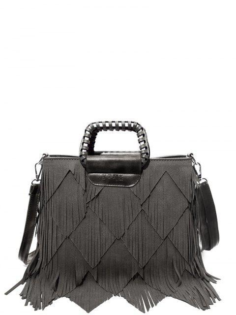 affordable Faux Leather Multi Fringe Handbag - GRAY  Mobile