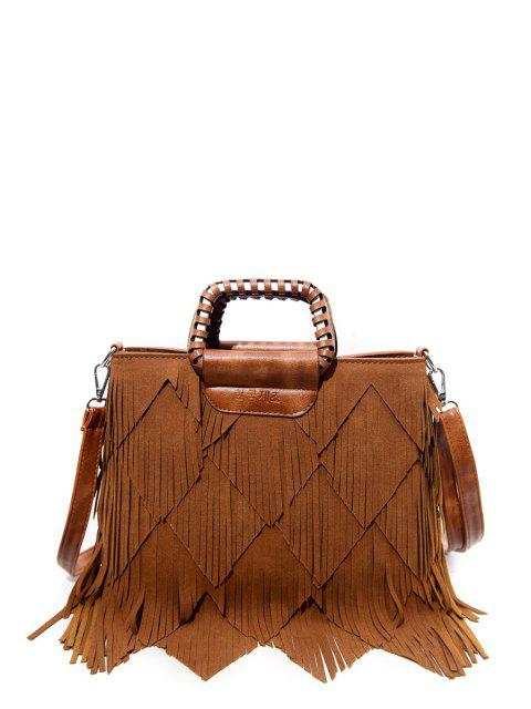 buy Faux Leather Multi Fringe Handbag - BROWN  Mobile