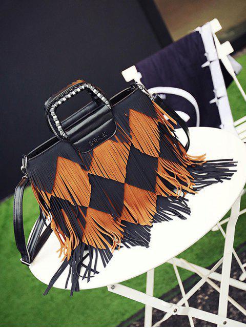 ladies Color Blocking Multi Fringe Handbag - BLACK AND BROWN  Mobile