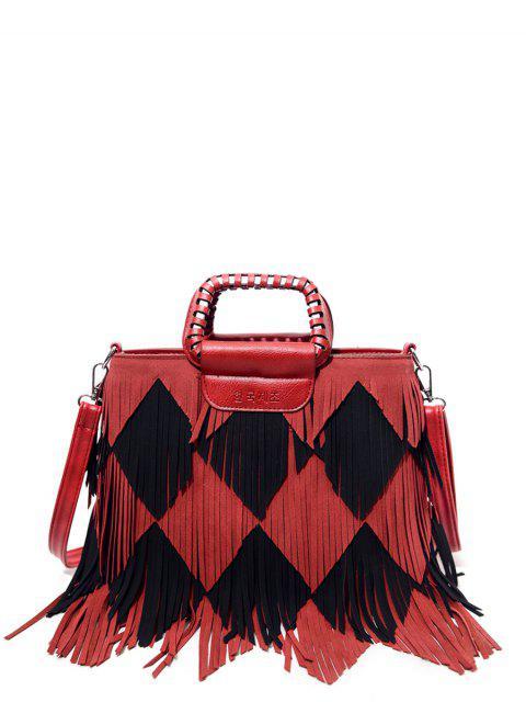 best Color Blocking Multi Fringe Handbag - RED WITH BLACK  Mobile