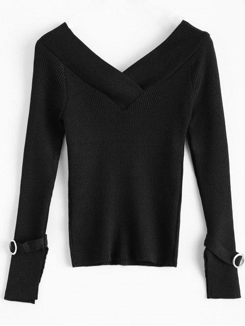 outfits Bare Shoulder V Neck Rib Sweater - BLACK ONE SIZE Mobile