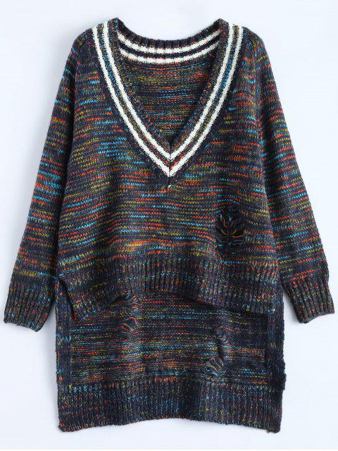 women High Low Ripped Heather Sweater - PURPLISH BLUE ONE SIZE Mobile
