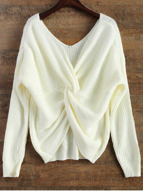 best V Neck Twisted Back Sweater - WHITE ONE SIZE Mobile