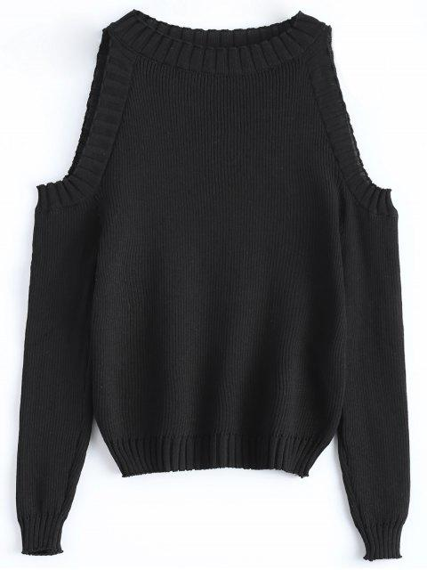new Cutout Open Shoulder Sweater - BLACK ONE SIZE Mobile