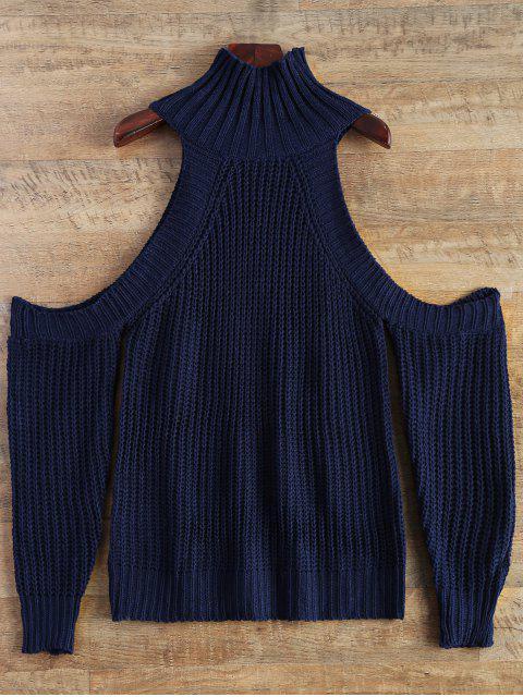 shop Cutout Open Shoulder Funnel Sweater - PURPLISH BLUE ONE SIZE Mobile