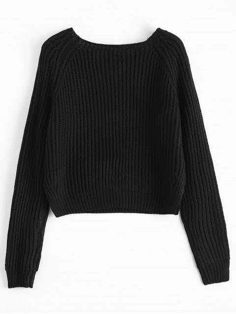 ladies Raglan Sleeve Boxy Basic Sweater - BLACK ONE SIZE Mobile