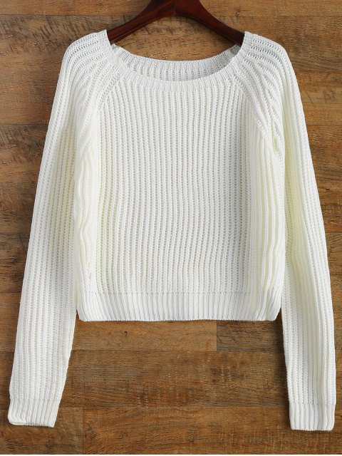 lady Raglan Sleeve Boxy Basic Sweater - WHITE ONE SIZE Mobile