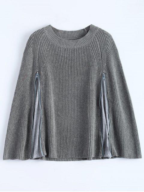 shops Zipped Split Hem Knit Poncho - GRAY ONE SIZE Mobile