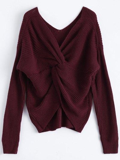 V Neck Twisted Back Sweater - Burgundy